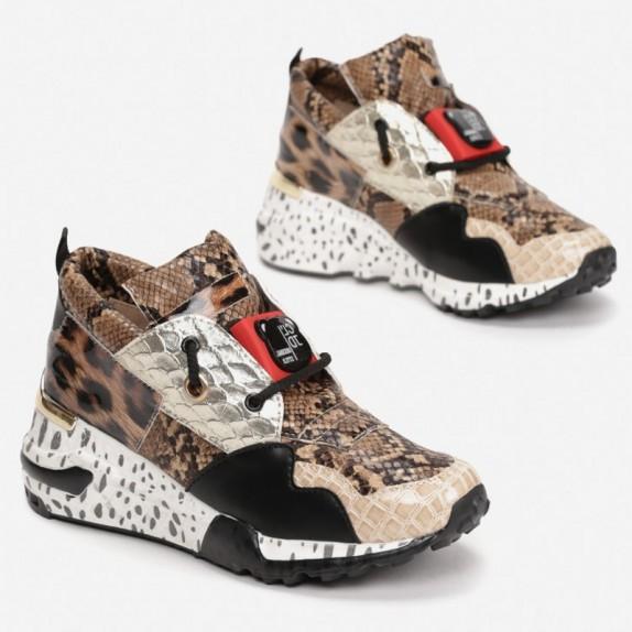 Sneakersy wężowe Pili brązowe
