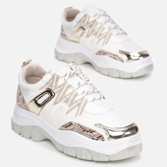 Sneakersy Isma bialo beżowe