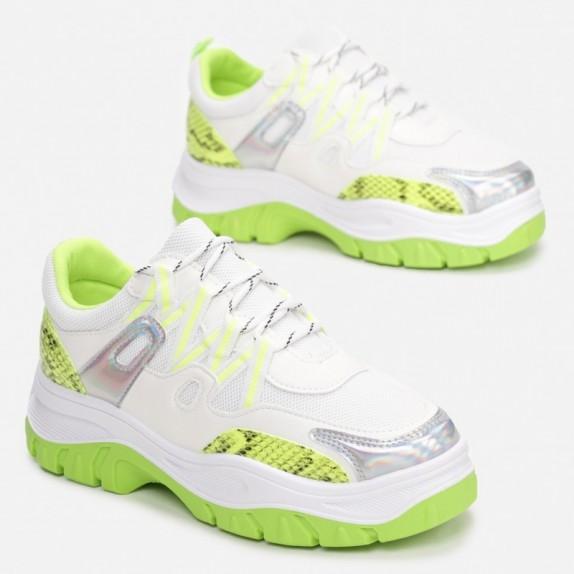 Sneakersy Isma bialo zielone