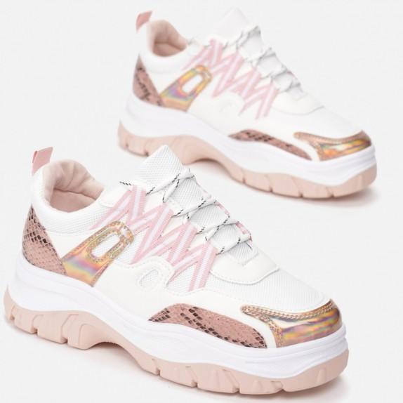 Sneakersy Isma bialo różowe