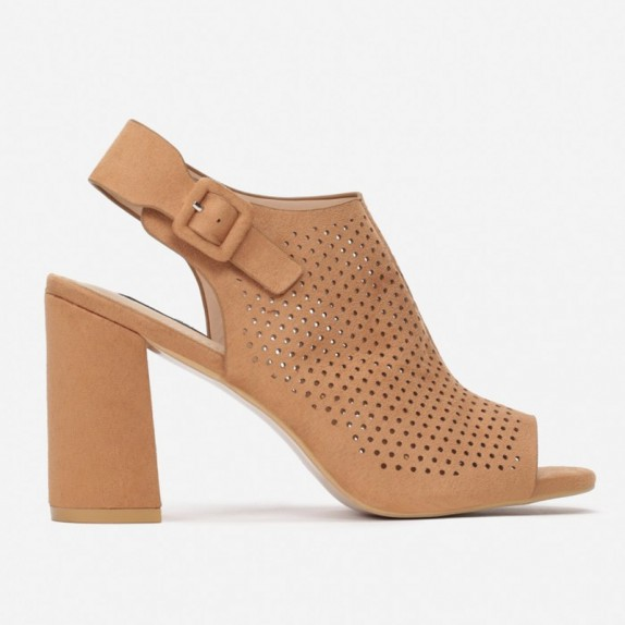 Sandały słupek ażurowe Kalla camelowe