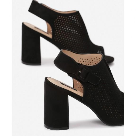 Sandały słupek ażurowe Kalla czarne