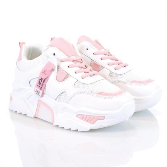 Sneakersy Berni biało różowe