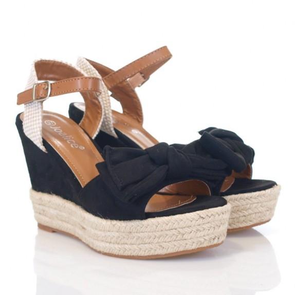 Sandały espadryle koturn kokarda Annabel czarne