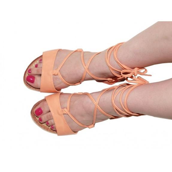 Sandałki wiązane wygodne Larissa pomarańczowe