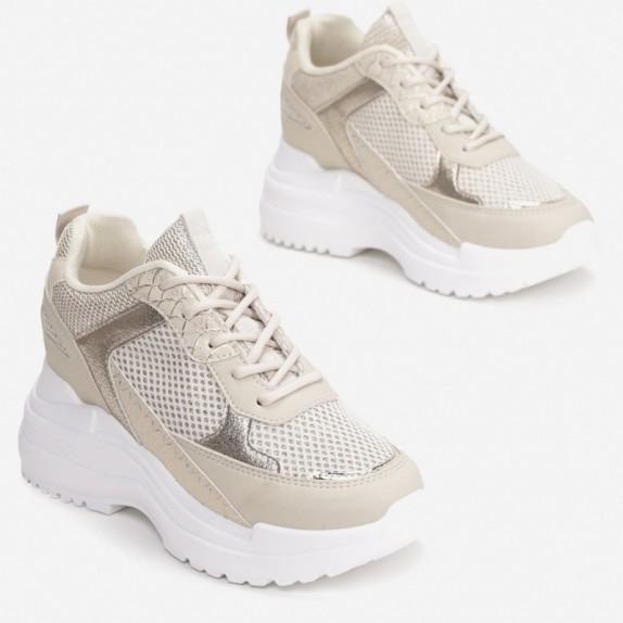 Sneakersy na koturnie Ideal beżowe