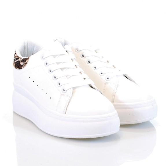 Sneakersy Brita biało brązowe