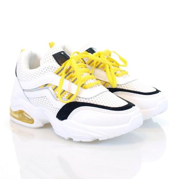 Sneakersy Neila biało żółte