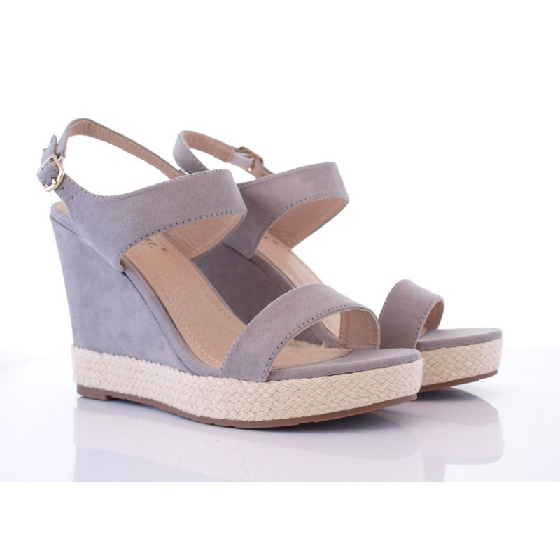 Zamszowe sandały na koturnie Hedwig szare | sklep SOLUEL