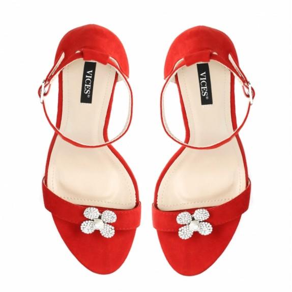 Sandały szpilki cyrkonie Nasty czerwone