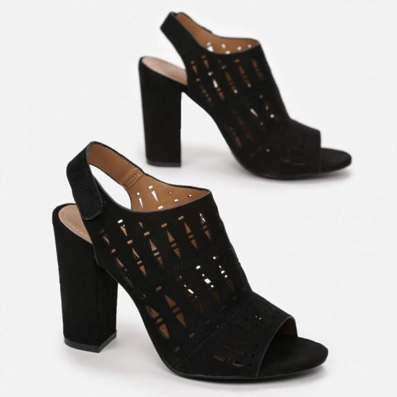 Sandały ażurowe słupek Mandy czarne