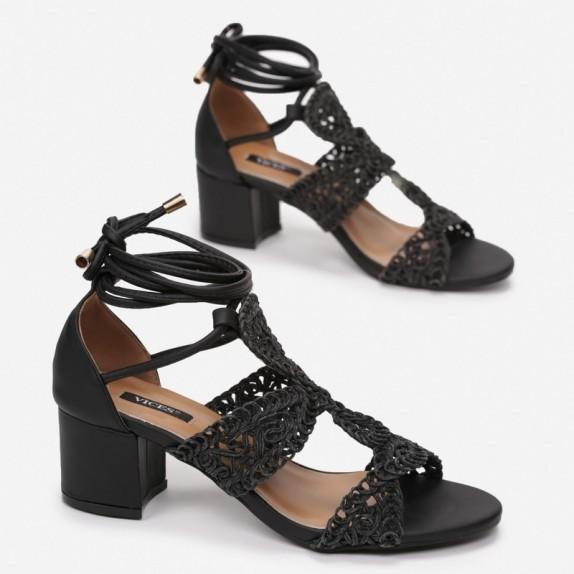 Sandały plecione wiązane Siloh czarne