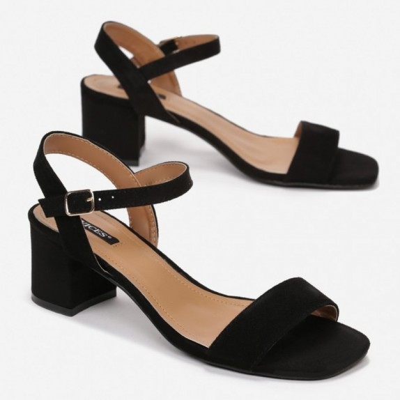 Sandały słupek zamsz Maya czarne