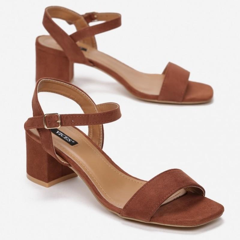 Sandały słupek zamsz Maya brązowe
