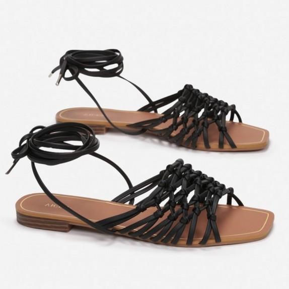 Sandały plecione wiązane Bumi czarne