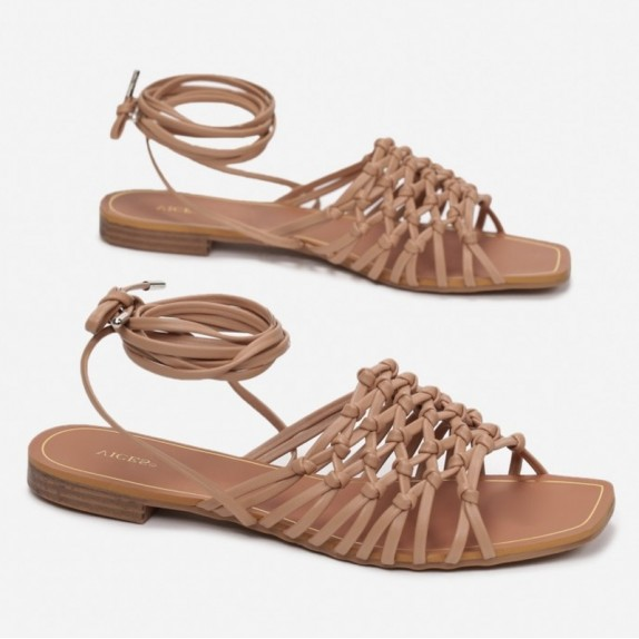 Sandały plecione wiązane Bumi beżowe
