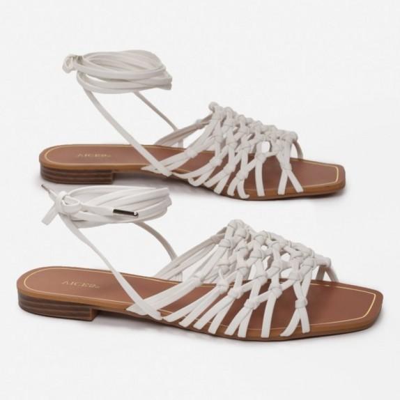 Sandały plecione wiązane Bumi białe