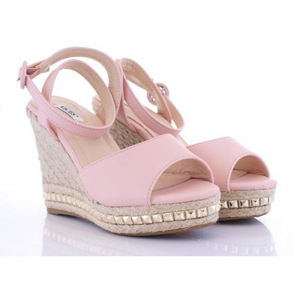 Sandały koturn ćwieki Alba różowe