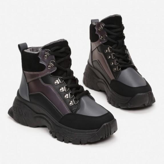 Sneakersy MIla czarno szare
