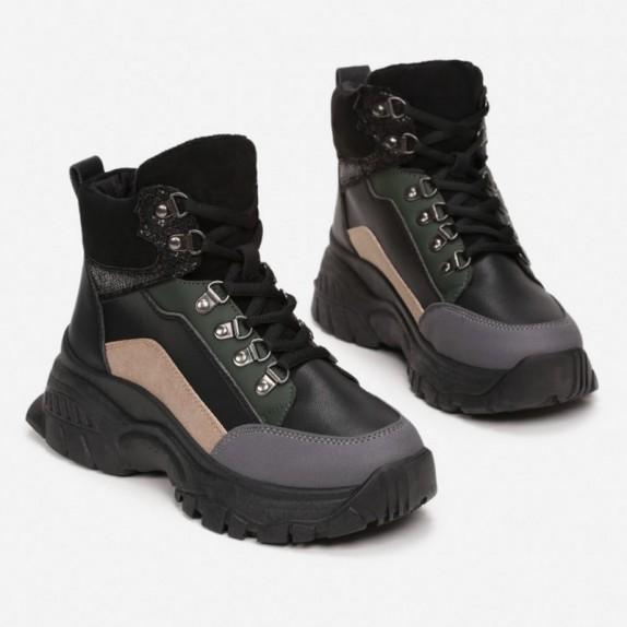 Sneakersy MIla czarno beżowe