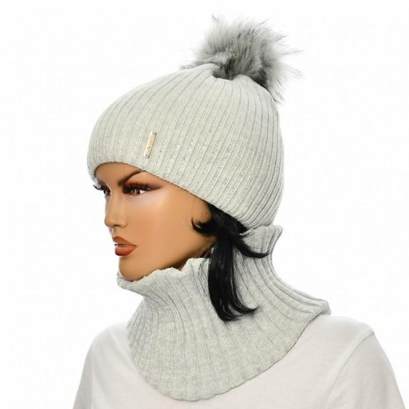 Komplet czapka plus komin Aneta szary jasny