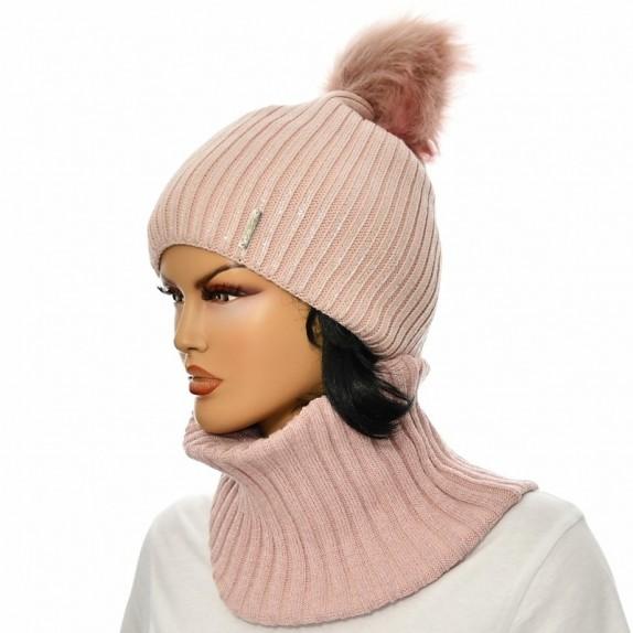 Komplet czapka plus komin Aneta różowy