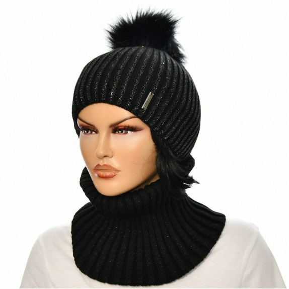 Komplet czapka plus komin Aneta czarny