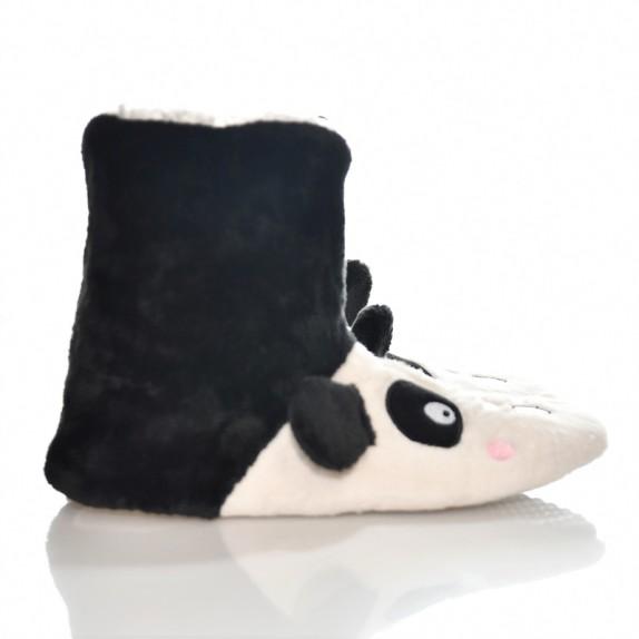 Kapcie wysokie bambosze zwierzątka panda czarne