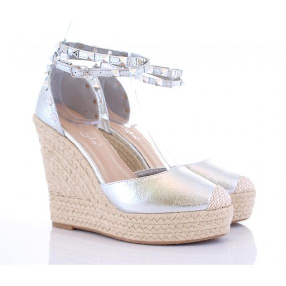 Sandały na koturnie ćwieki Florence srebrne