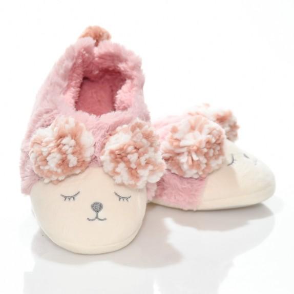 Kapcie bambosze buźki pompony Mouse różowe