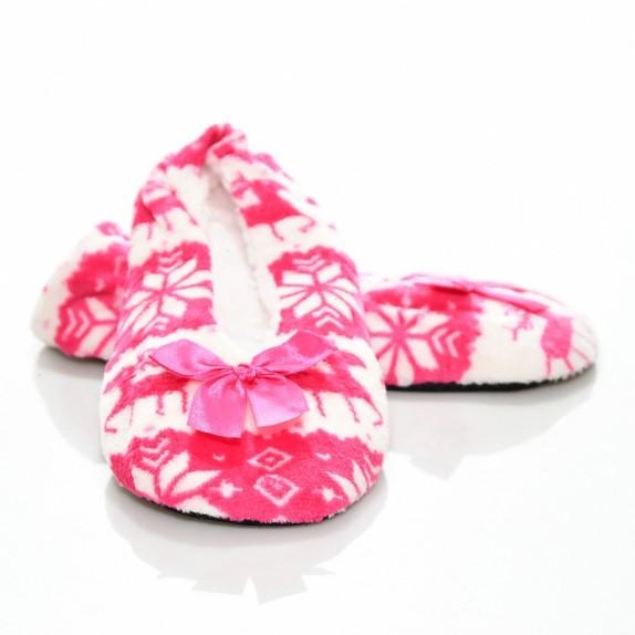 Kapcie balerinki renifery Amelia różowe