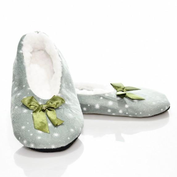 Kapcie balerinki gwiazdeczki welur Jois zielone