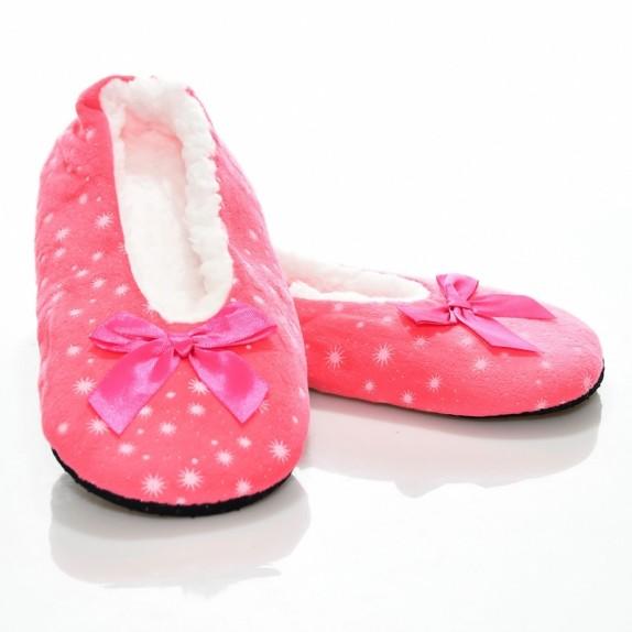 Kapcie balerinki gwiazdeczki welur Jois różowe