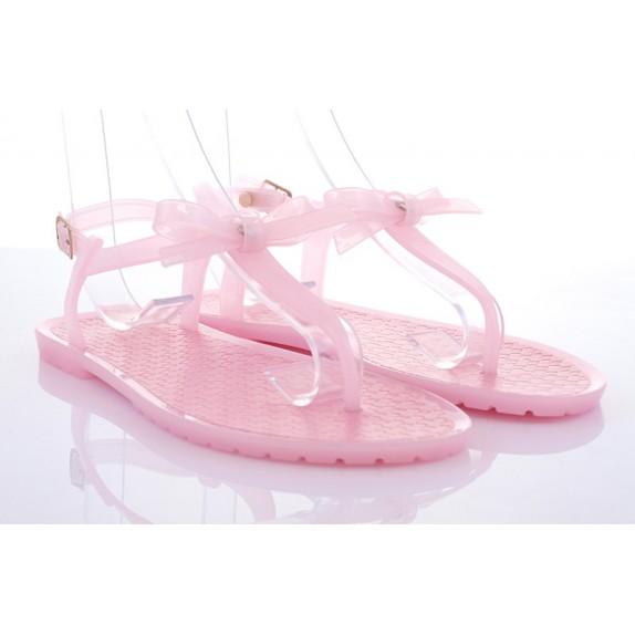 Japonki meliski sandałki kokarda Sara różowe