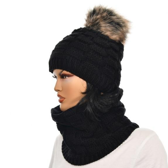 Komplet czapka plus komin Lila czarny