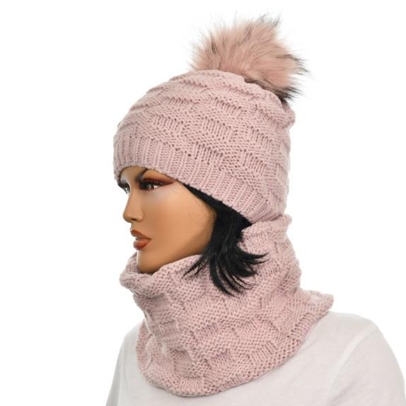 Komplet czapka plus komin Lila różowy