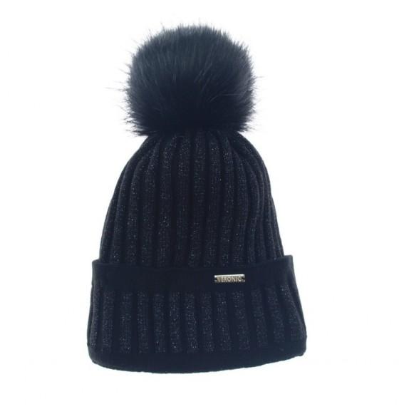 Czapka zimowa pompon Juliana czarna