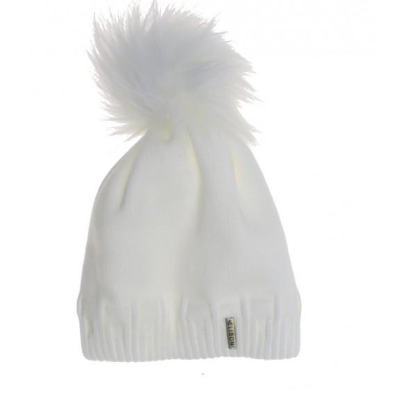 Czapka zimowa pompon Gridget biała
