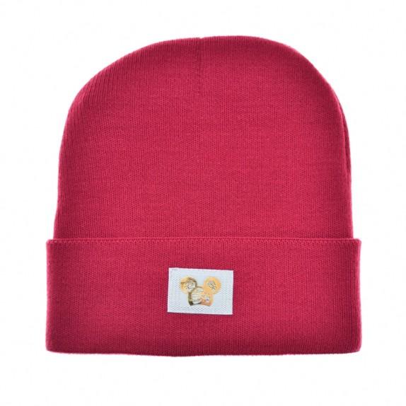 Ciepła czapka zimowa Minnie różowa ciemna