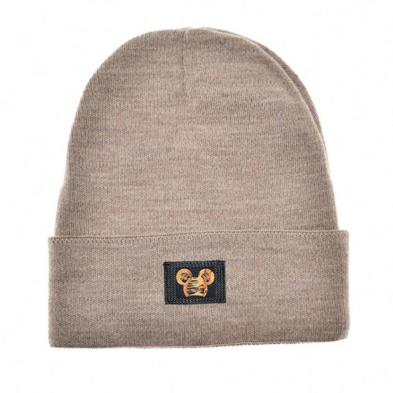 Ciepła czapka zimowa Minnie beżowa ciemna
