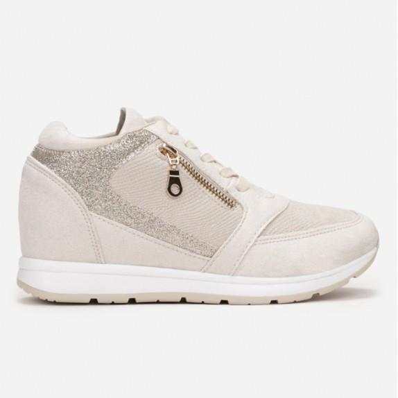 Sneakersy na koturnie Becca beżowe