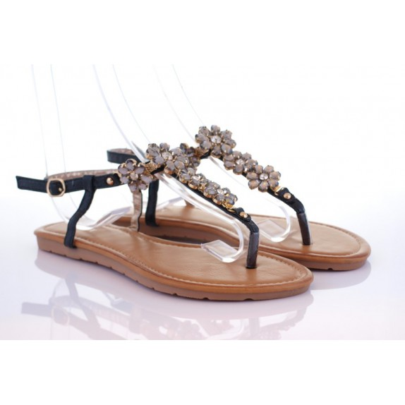Sandały japonki kryształy kamienie Ligea czarne