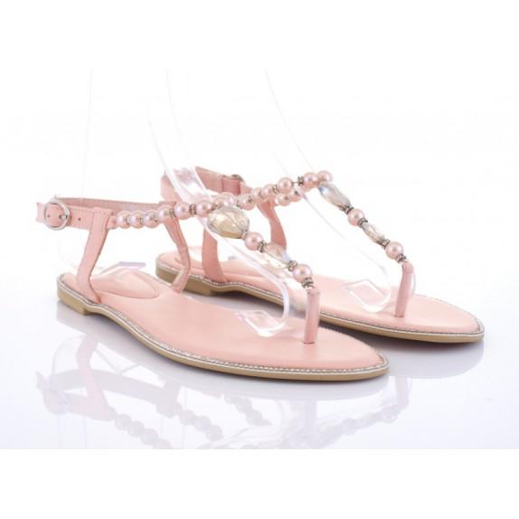 Sandałki japonki perełki cyrkonie Lisa różowe