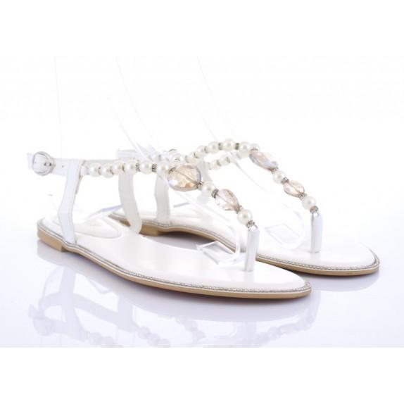 Sandałki japonki perełki cyrkonie Lisa białe