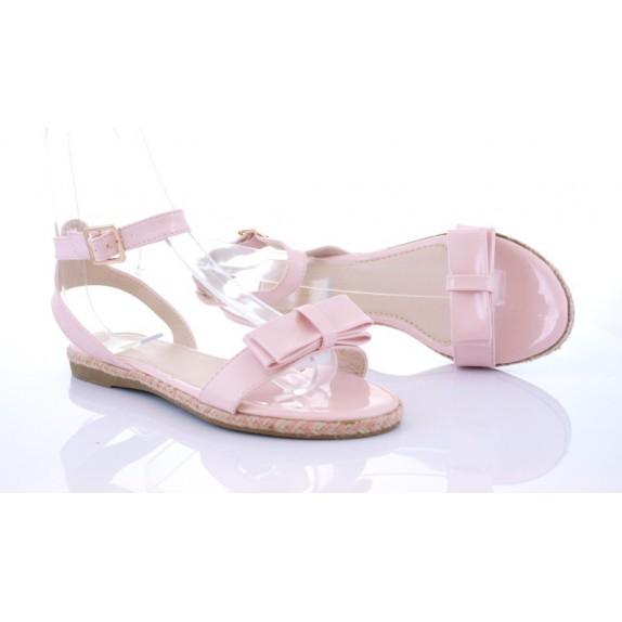 Sandałki lakierowane kokarda Rea róż
