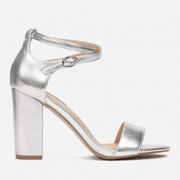 Sandały słupek Nadia srebrne
