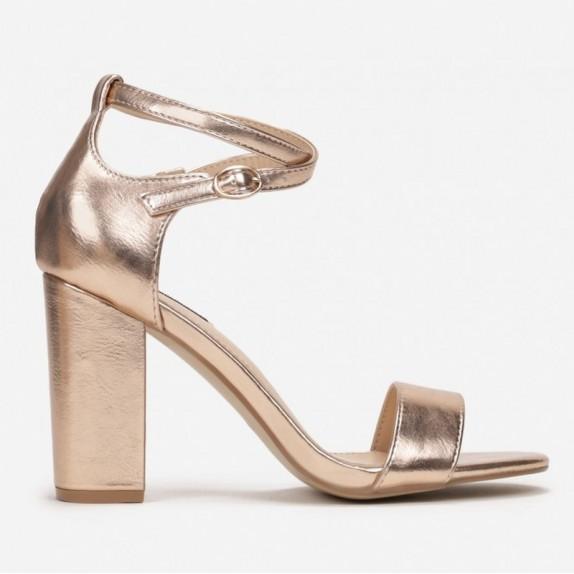 Sandały słupek Nadia różowe złoto