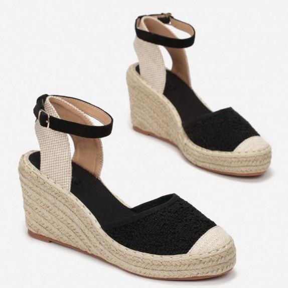 Sandały espadryle na koturnie Alicja czarne