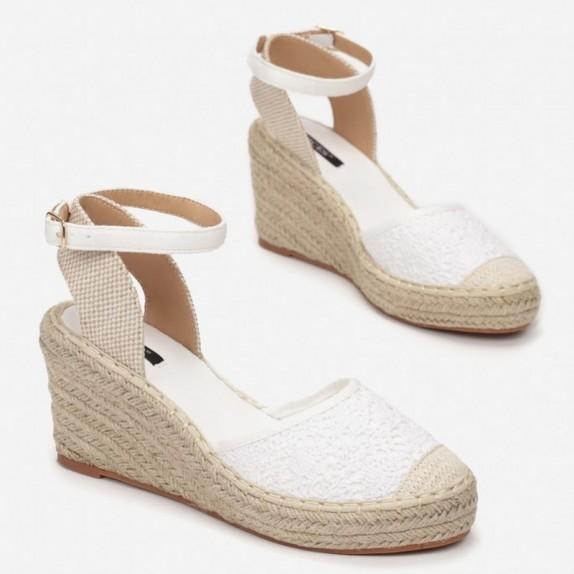 Sandały espadryle na koturnie Alicja białe