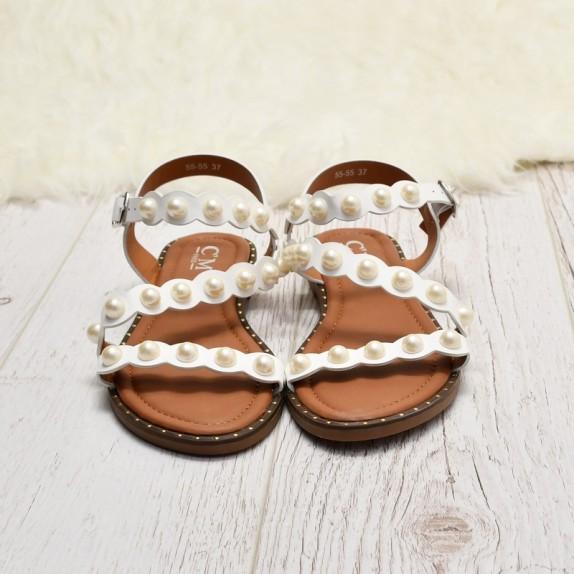 Sandały z perełkami Ewa białe